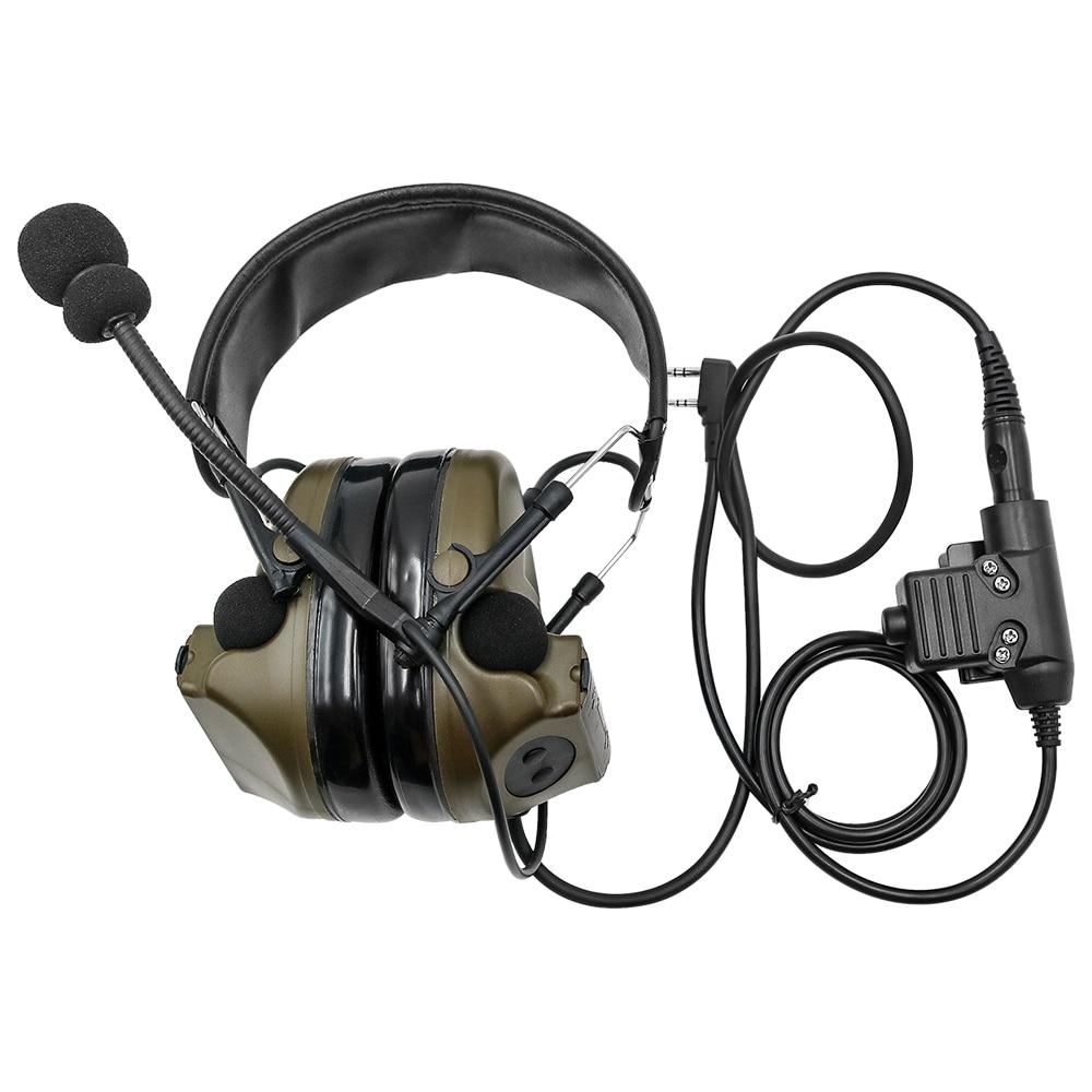 Comtac II Tactical Headset Military Headphones Noise Reduction Sound Pickup Ear Protection FG+ U94 PTT Kenwood 2 Pin Plug