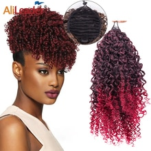 Alileader Afro Curly Wrap Around Ponytail Extension 8 inch Short Extension For Women Synthetic Puff Ponytail Hairpieces