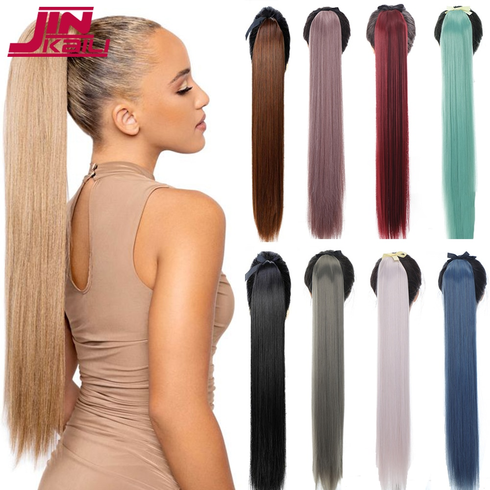 JINKAILI 85cm Super Long Straight Ponytail Red Pink Purple Wig Synthetic Heat-Resistant Clip in Hair Extensions Pony Tail