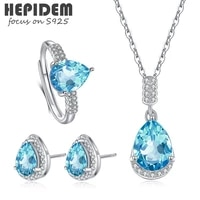hepidem 100 really topaz 925 sterling silver necklace rings earrings women korean natural blue s925 fine jewelry set h005