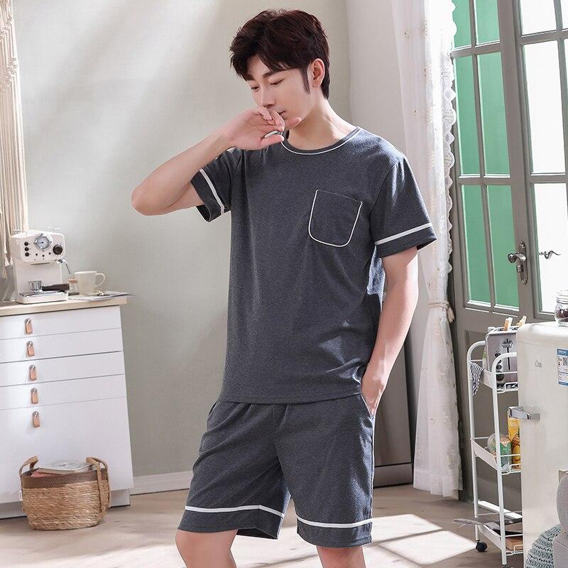 Novo cheio de  dos homens  manga curta shorts pijamas conjunto tamanho grande L-4XL pijamas lazer ternos pijamas
