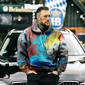 2021 men's fashionable rainbow art painted 3d printing casual sports hip-hop hooded fashion jacket sports brand hoodie
