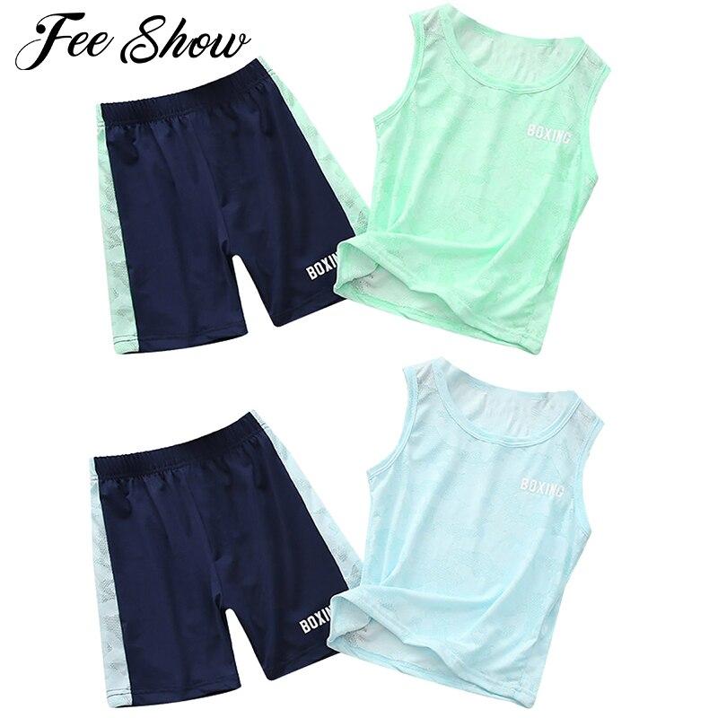 Verão crianças meninos conjuntos de roupas crianças tanque topos calças curtas 2 pçs/sets criança secagem rápida correndo conjunto lazer esporte treino