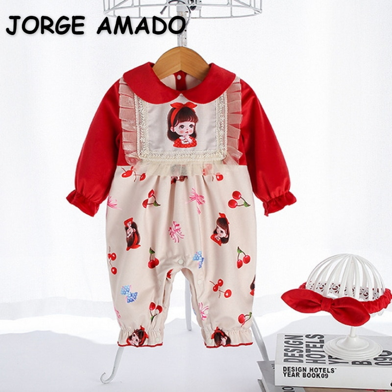 2022 Ins New Spring Baby Girls Romper Red Patchwork Cartoon Long Sleeves Lace Soft Coton Jumpsuit wi