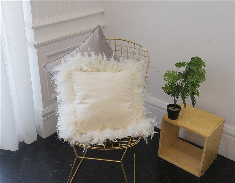 Lujosa funda de cojín de belleza, funda de almohada de tela de terciopelo de Europa blanca, funda de almohada, cojín para sofá cama, habitación del hogar