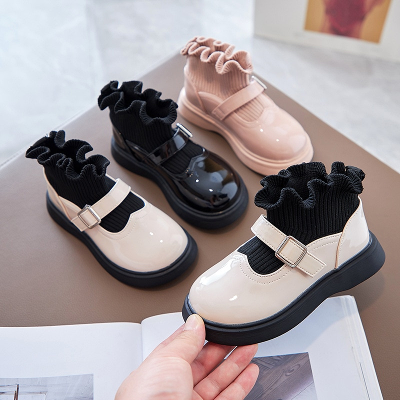 Girls Princess Shoes 2021 Version of The New Autumn In The Big Children Girls Lace Paint Small Leather Shoes Children's Shoes