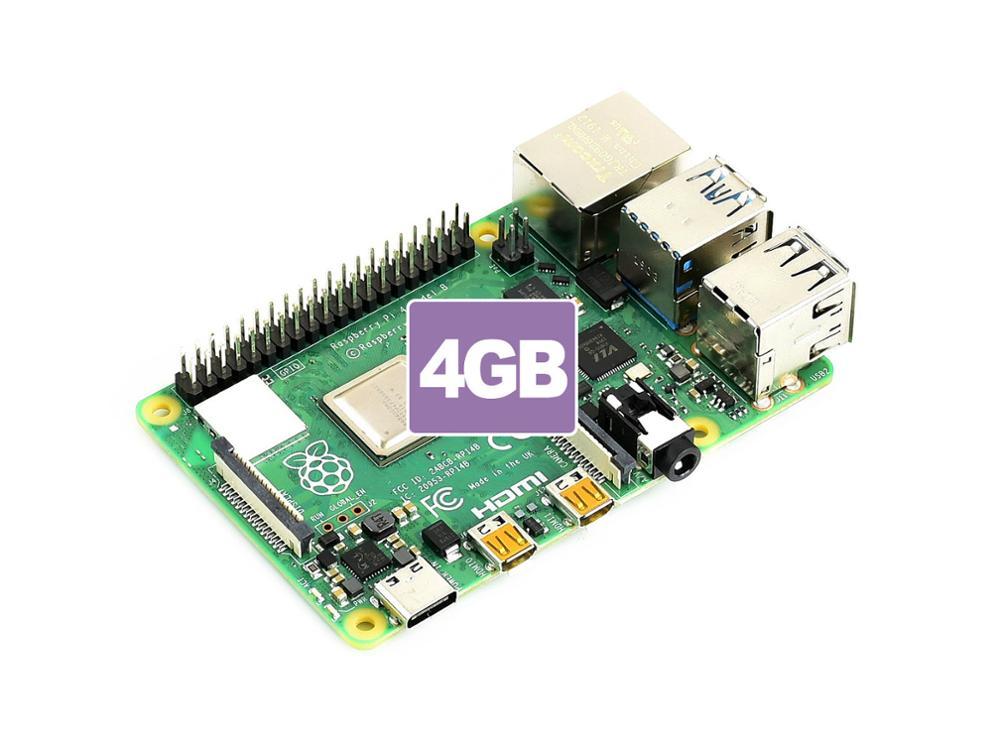 Raspberry Pi 4 Model B Rev1.2 4GB RAM 64-bit 1.5GHz quad core Gigabit Ethernet Bluetooth 5.0 USB Type C power supply