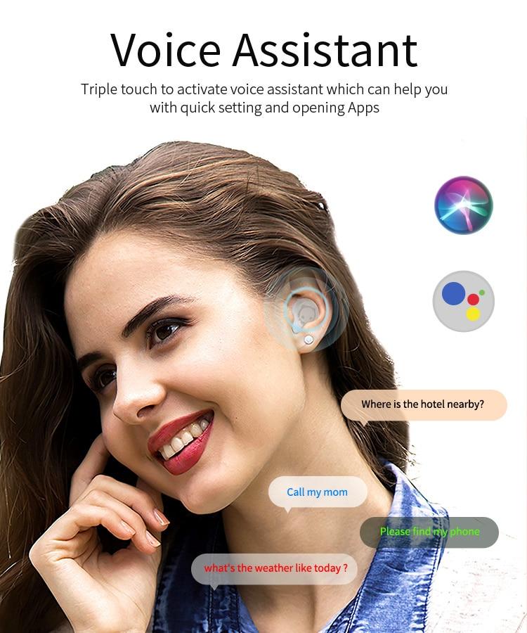 1pcs ANC TWS Wireless Bluetooth 5.0 Earphone stereo Earphone Renamed GPS with Mic Hands + Free case For Cute Panda Cartoon enlarge