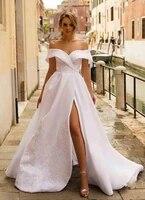 satin off shoulder lace appliques wedding dresses split sexy 2020 bridal gowns sweep train long women vestidos de noiva