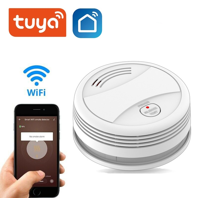 Wifi Tuya Smart Smoke Detector Sensor 80DB Alarm Fire Smoke Detector Wifi Fire Protection Home Security Alarm Smart Life APP