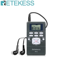 Retekess PR13 المحمولة ستيريو راديو FM جيب راديو ساعة رقمية استقبال ل اجتماع كبير الترجمة الفورية F9213