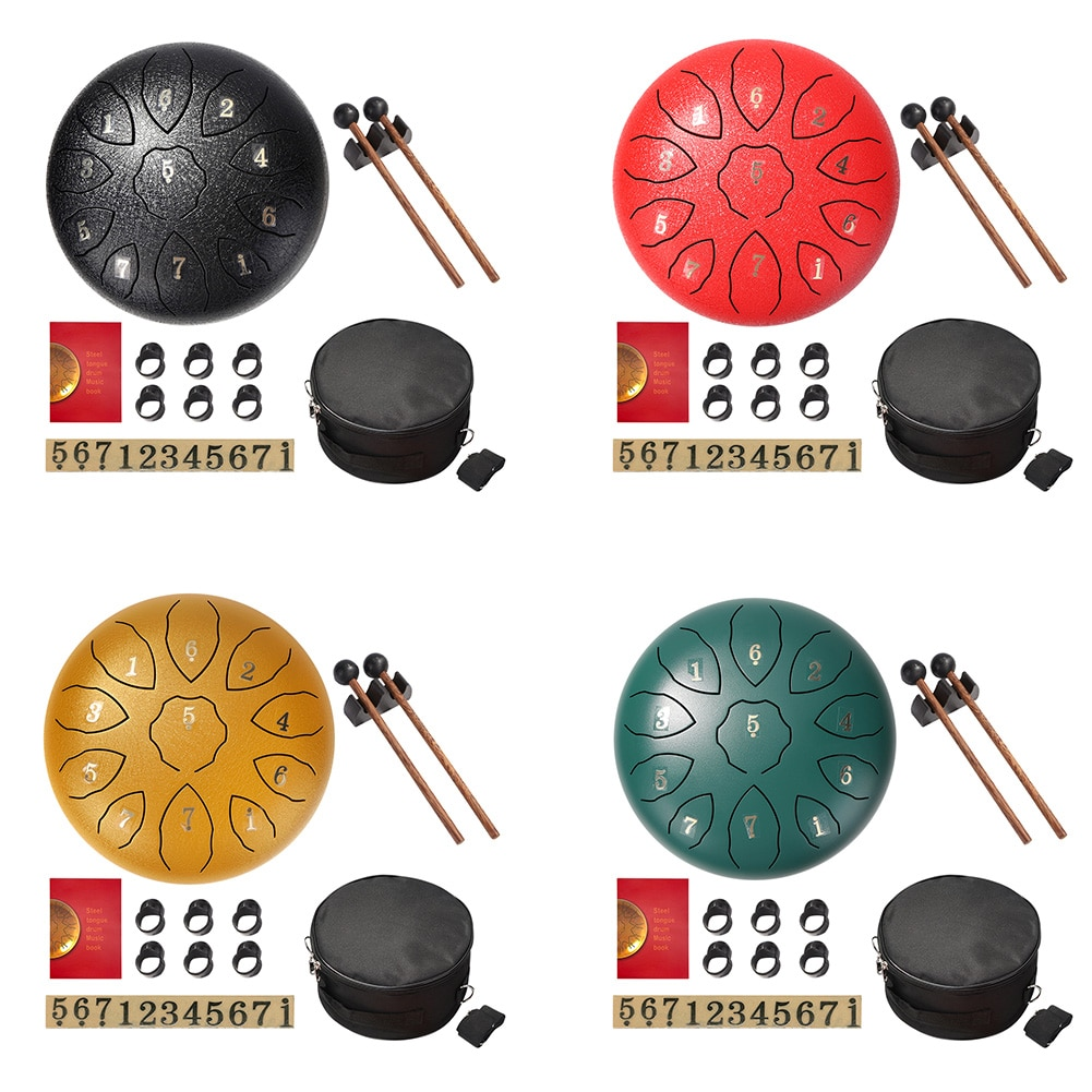 8 inch Steel Tongue Drum Kits11 Tone Hand Pan Tank Drum Music Percussion Instrument for Outdoor Picnic Family Gathering