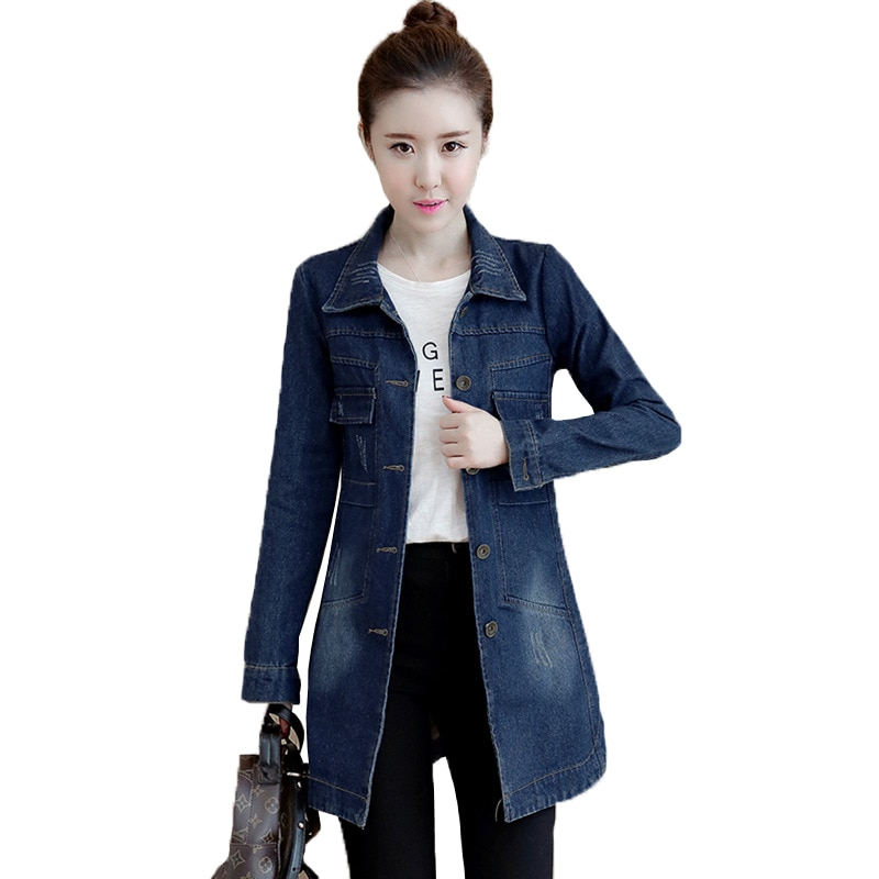 Chaqueta vaquera para mujer, abrigo de talla grande 5XL Sping, chaqueta vaquera ajustadas coreanas de otoño, chaqueta vaquera de manga larga con solapa, de una sola hilera de botones