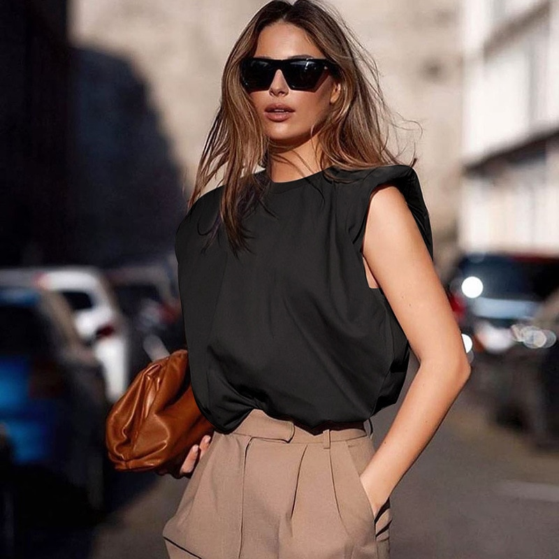 Sytiz Cotton Sleeveless 2020 Summer Women Fashion O Neck T Shirtselegant Loose OL Tops Office Black White Clothes Solid New