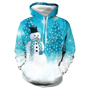 Unisex Christmas Ice Blue Snowman 3D Digital Print Loose Hooded Sweater Pullover Women Men New Year Baseball Sweatshirt Hoodie