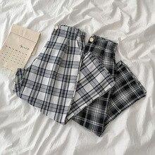 HOUZHOU-pantalon long de Style coréen pour femmes, pantalon Palazzo à carreaux, à la mode, été 2020