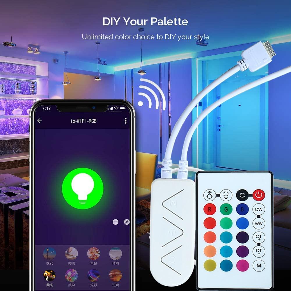 Tira de luces LED con control de infrarrojos y WIFI 3m 24Key SMD 5050RGB 2835 blanco y blanco cálido Wifi 90LEDS/M luces LED de cinta Flexible