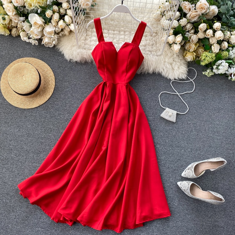 Fashion Elegant mid-length printed camisole office lady dress party design dress summer 2020 korean Women V Neck retro Dresses