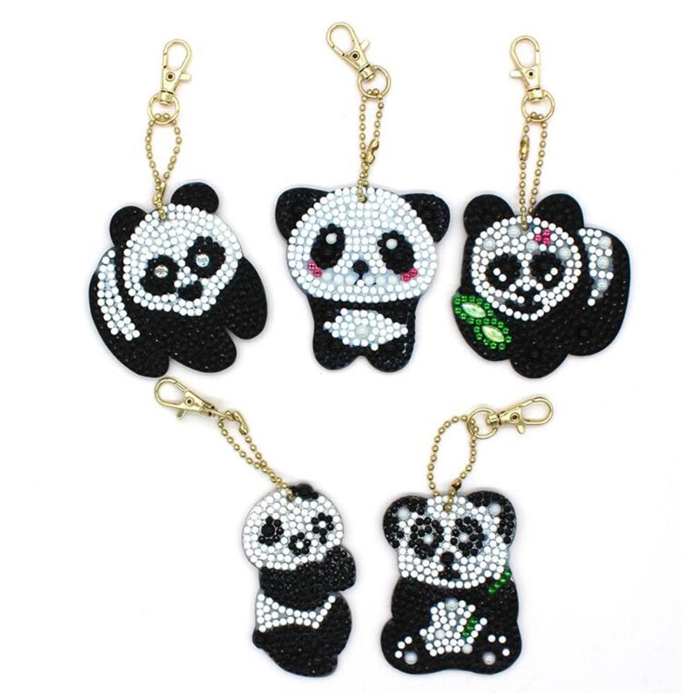 5d Diy Diamond Painting Keychain For Christmas Gift panda Unicorn Keyring Diamond embroidery Woman Bag Jewelry Ornaments
