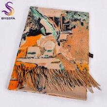 [BYSIFA] kobiety Camel wełny szaliki drukowane nowe mody Cashmere Pashmina długi szalik szal elegancki marka ciepłe damskie chusty okłady