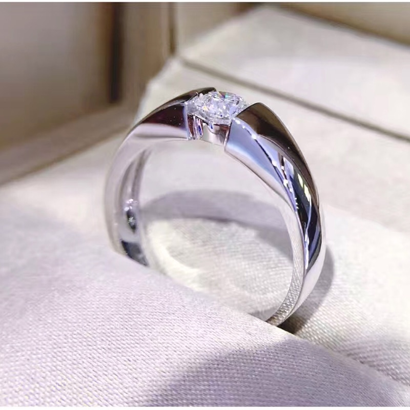 Classic 100% original Solid 925 Silver Rings Set 6mm 2ct Diamond Engagement Rings Jewelry Wedding Rings for Women Men size 6-13