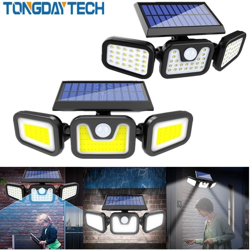 Tongdaytech LED Solar Light Outdoor Solar Lamp Powered Sunlight 3 Modes PIR Motion Sensor for Garden