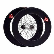Paire de roues à engrenages fixes 90mm jante 70mm en alliage daluminium roue à bascule vélo de route Fixie vélo avec pneus accessoires de Cycle de cyclisme