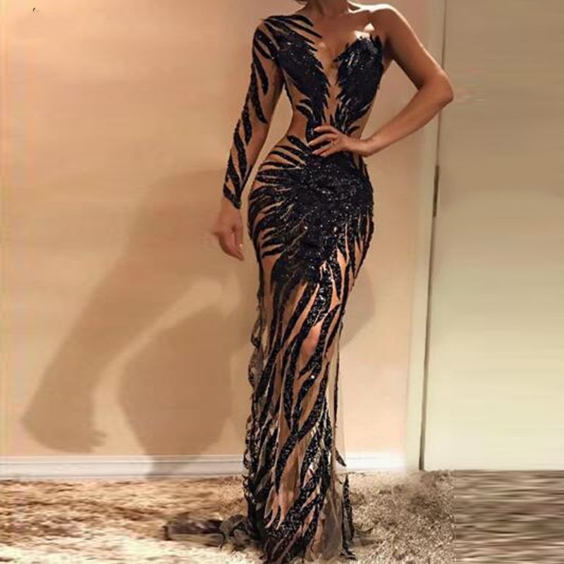 2020 costura negro un hombro Prom vestidos lentejuelas pura abiye traje noche sexy manga completa robe de soiree Formal vestido manga