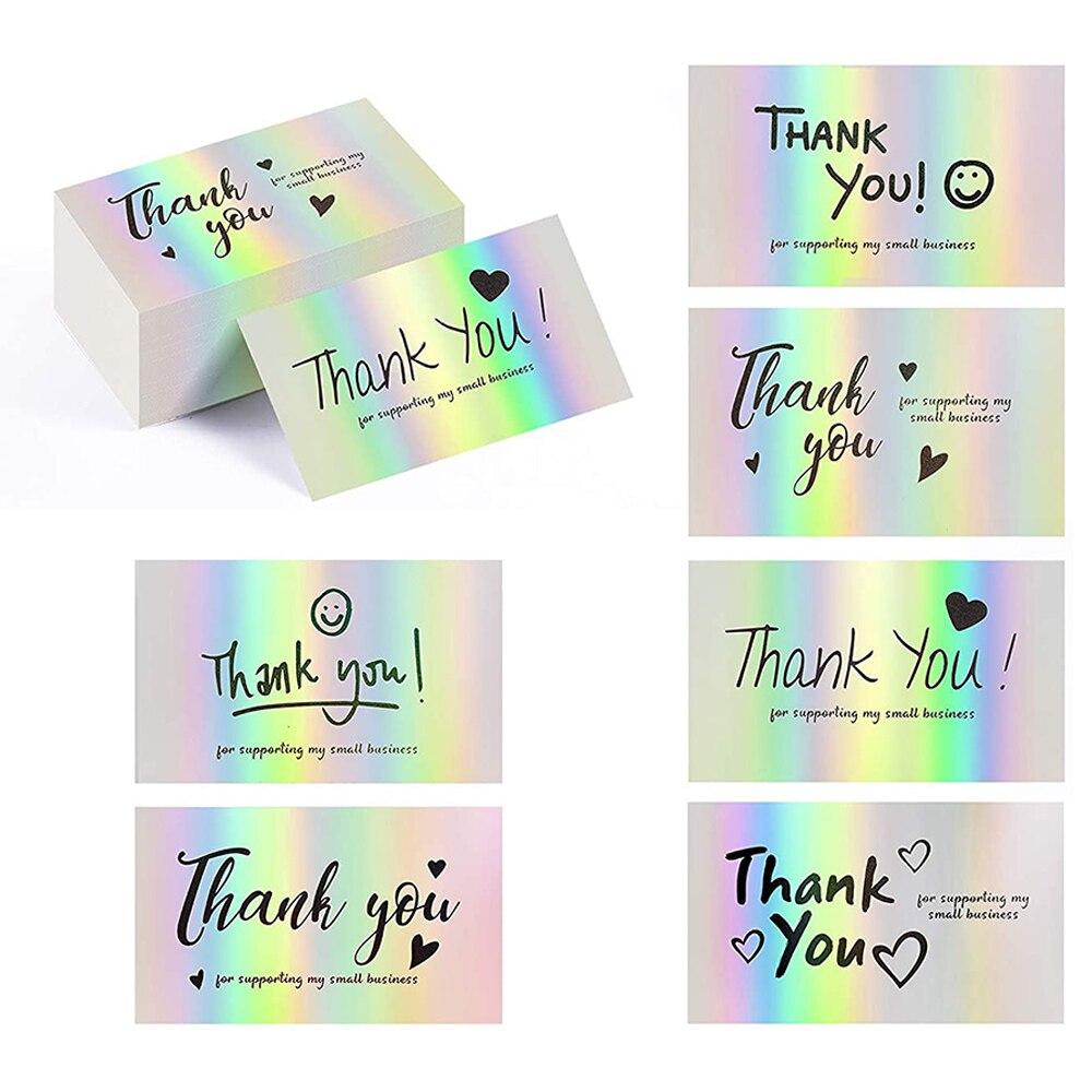 Карты благодарности за маленький бизнес, спасибо за поддержку карт, голографические карты для покупок, спасибо за розничный магазин