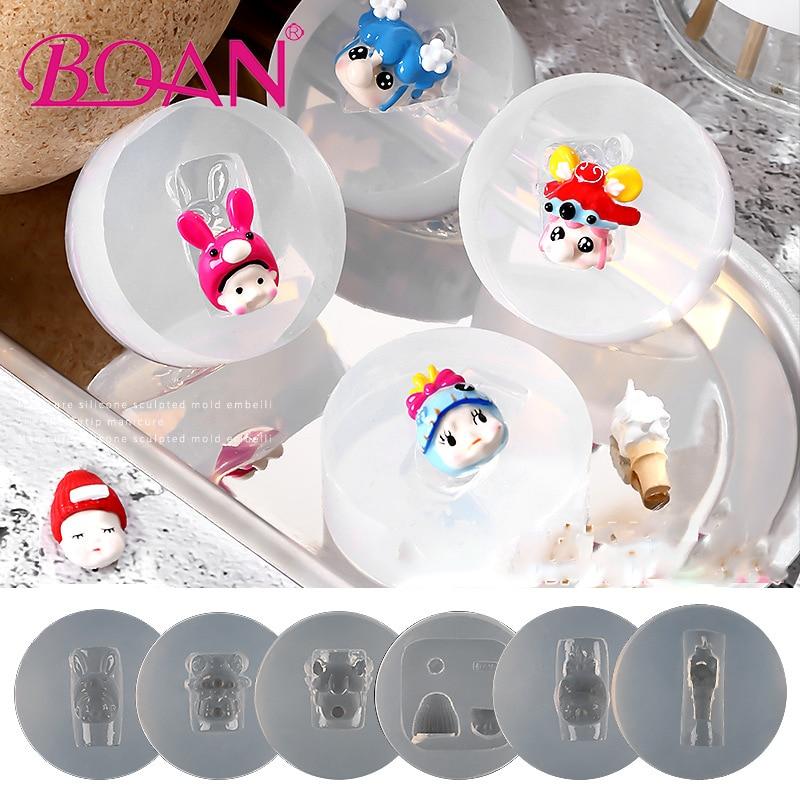 BQAN 1 Pc silicona 3D de talla de plantillas de diseño de arte molde placa manicura esmalte de uñas de Gel UV impresora molde herramienta