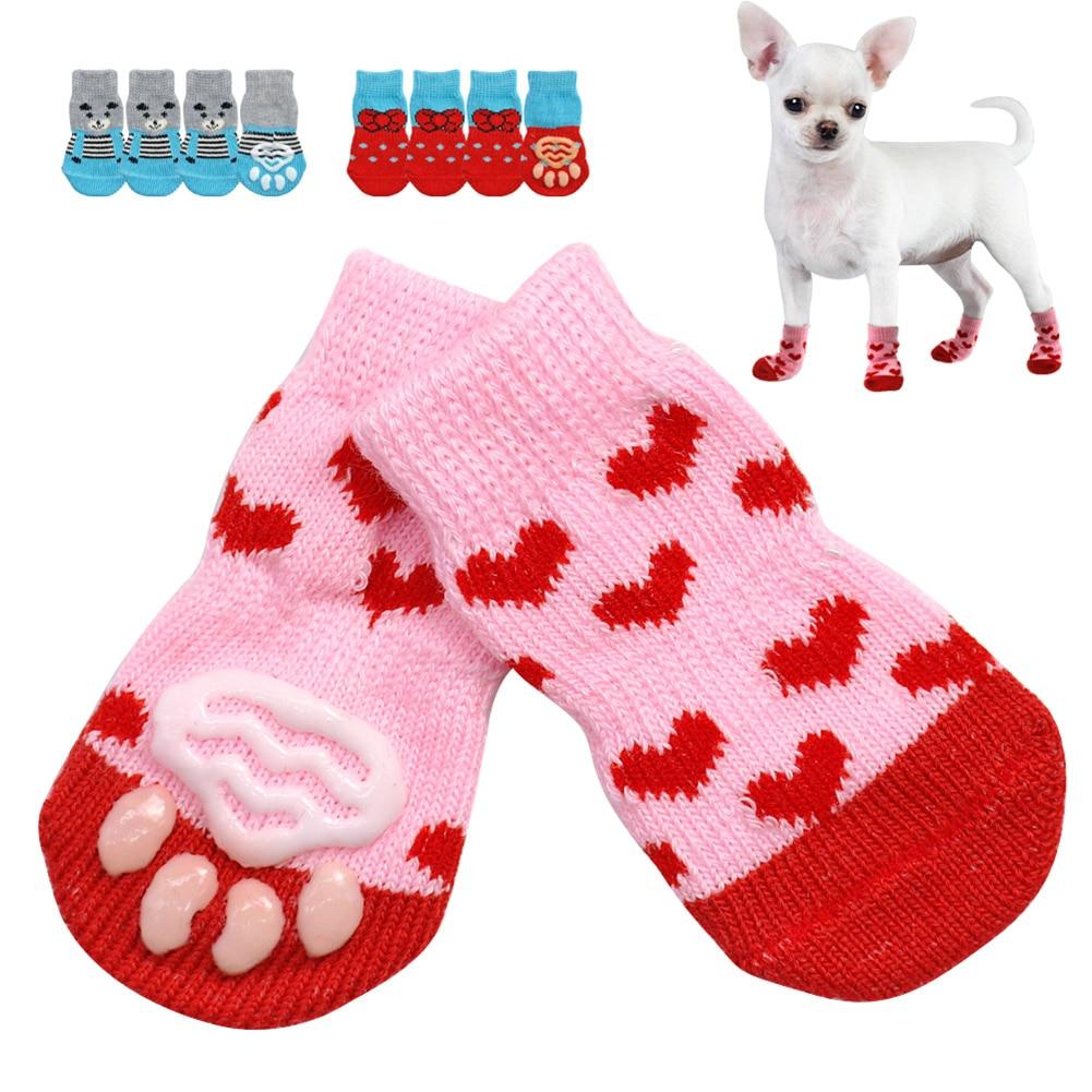 4 개 / 대 작은 개를위한 귀여운 강아지 니트 양말, 가을과 겨울을위한 면화 미끄럼 방지 고양이 신발 실내 착용 슬립 발 보호대
