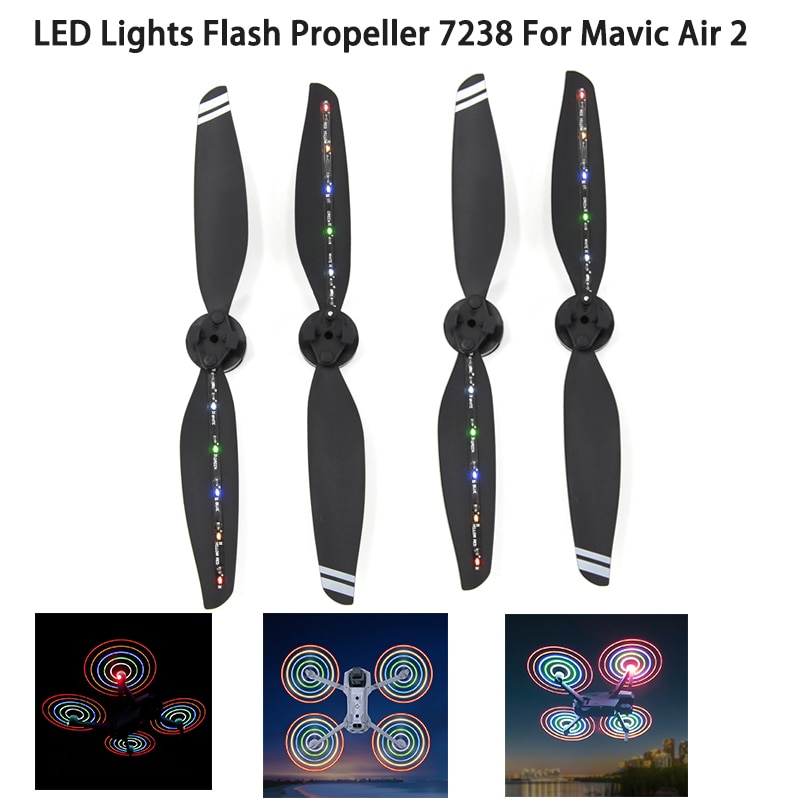 2/4 قطعة LED فلاش المروحة Mavic الهواء 2 سرعة الافراج شفرة الدعائم ل DJI Mavic الهواء 2 Drone اكسسوارات