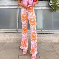 vintage wide leg y2k pants women fashion high waist floral trousers harajuku streetwear casual loose sweatpants long trousers