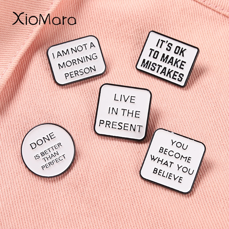 Inspirational Quotes Enamel Pin Motivational Saying Metal Brooches Collar Backpack Decoration Inspir