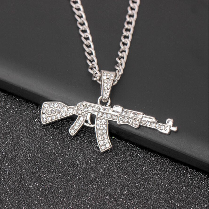 Moda Punk oro plata hip-hop mujeres hombres pistola forma colgante de diamante de imitación de cristal collar de cadena creativos collares masculinos joyería