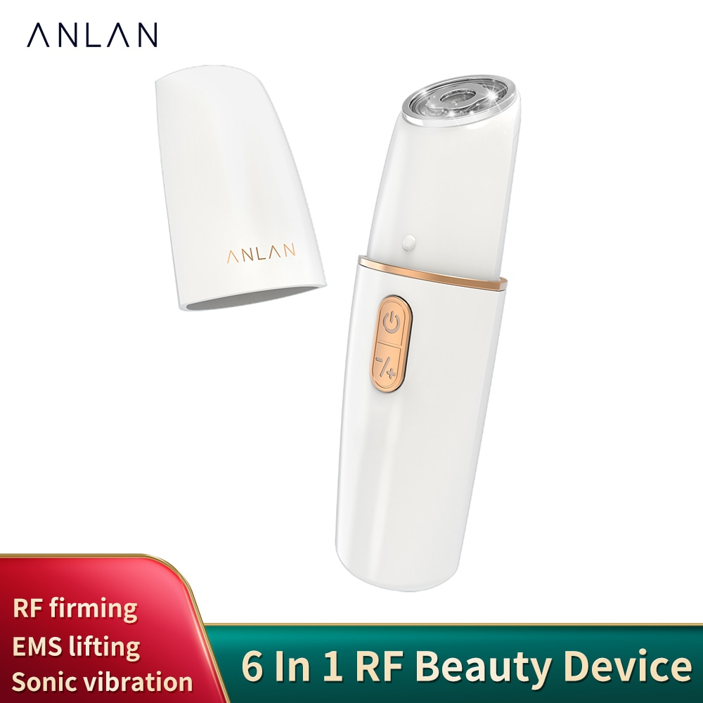 جهاز تجميل من ANLAN 6 في 1 يعمل بالترددات الراديوية لبشرة الوجه مع خاصية شد الوجه باللونين الأحمر والأزرق