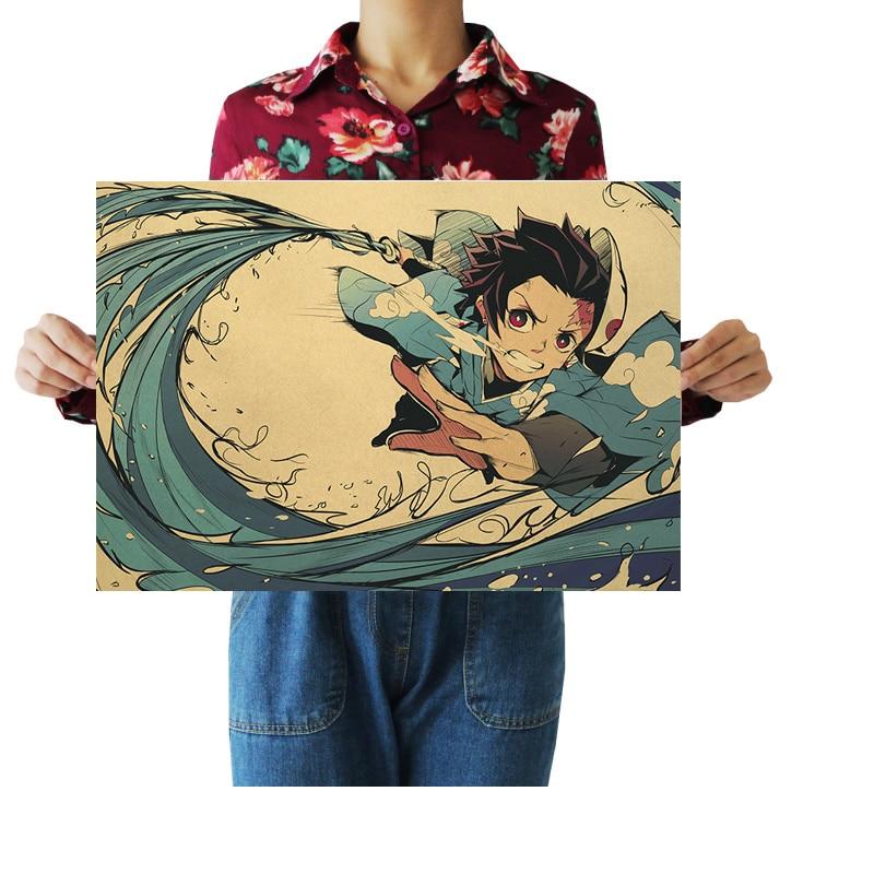 Póster adhesivo de Anime Demon Slayer Kimetsu no Yaiba, póster de Papel kraft para pared, decoración del hogar, pintura de imagen para habitación, pintura de 51x36cm