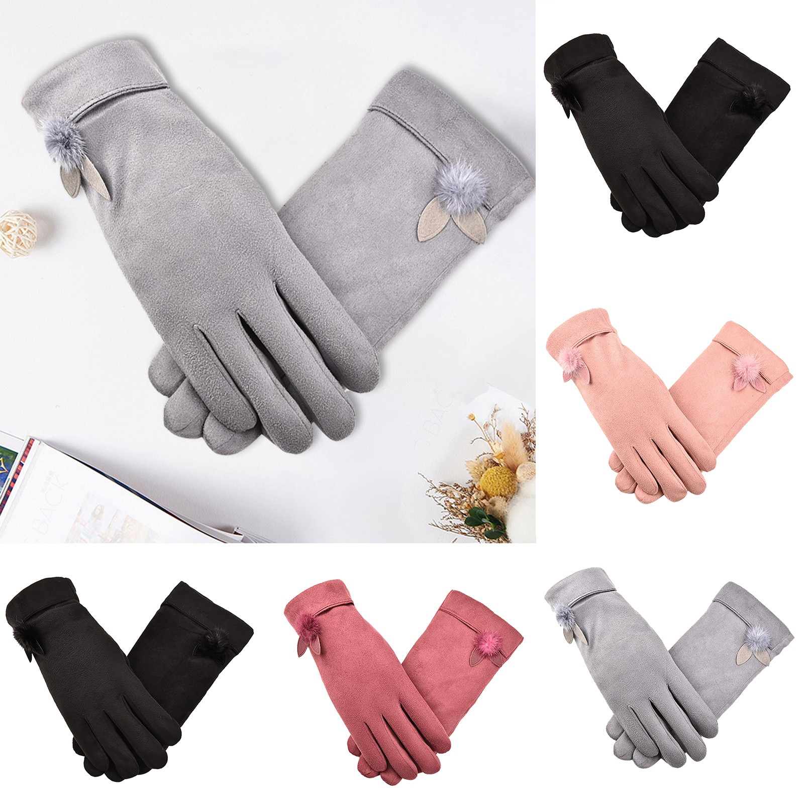 Fashionable Women's Suede Gloves Warm Winter Gloves With T-ouch Screen Index Finger Sweet and lovely, warm comfortable перчатки