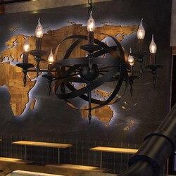 Lustre rústico retrô vintage para café, sala de jantar, quarto, e14, vela, preto, redondo, lustre em ferro forjado