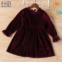 humor bear spring new girls clothes long sleeved dress children clothes gold velvet princess dress baby girls dress 4 12y