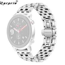CARPRIE 1pc Black Silver Stainless Steel Smart Watch Replacement Watch Band Strap Wristband for AMAZFIT GTR 47MM 907