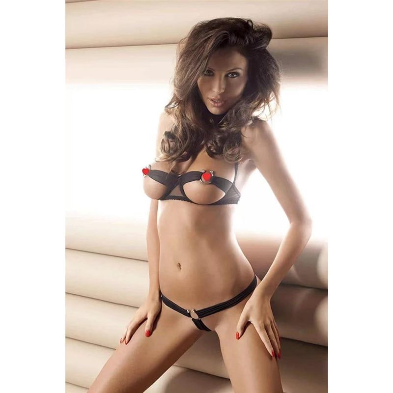 Sexy Micro Bikini Extreme Temptation Lace Up Perspective Three-point Open Bra Set Erotic Micro Teardrop Bikinis Porno Lingerie