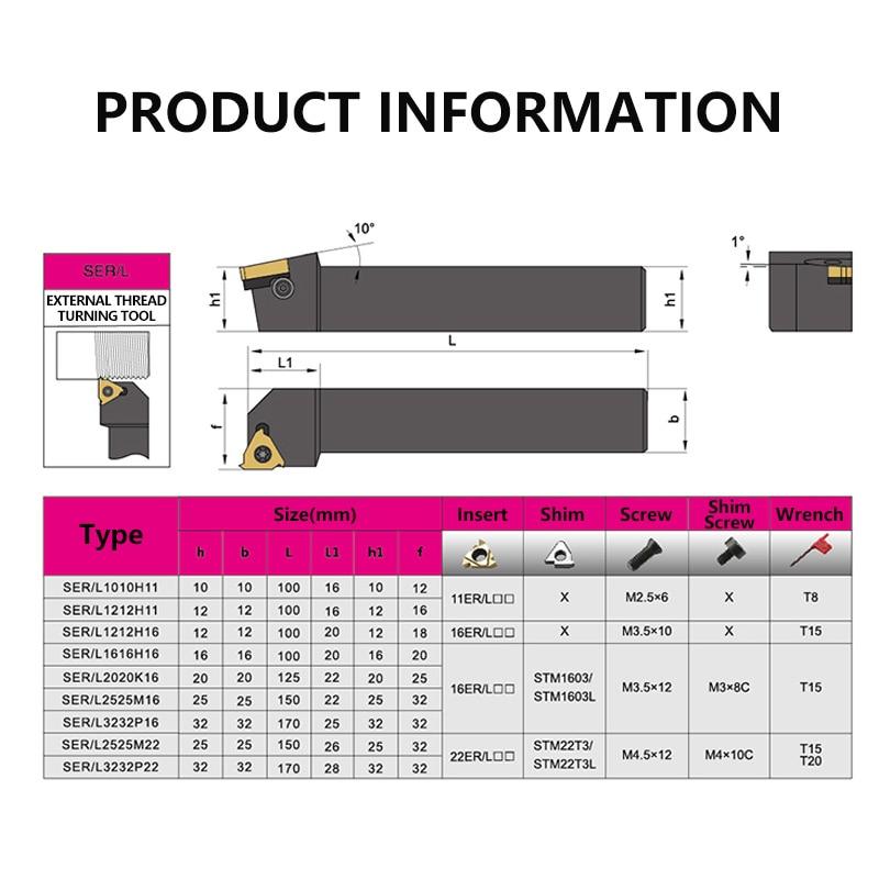 SER1616H16 SER2020K16 SER2525M16 External Thread Turning Tools Lathe Cutter 16ER Carbide inserts CNC Holder