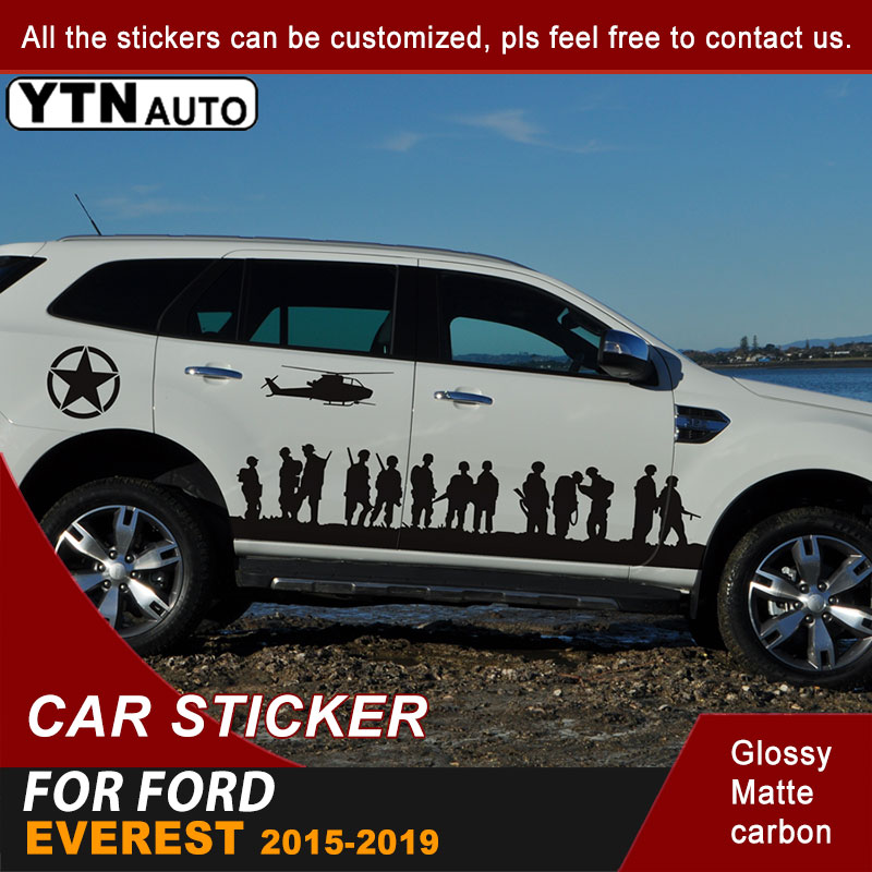 Side Body Car Sticker Soldier Brothers Styling Graphic Vinyl Decal For Ford Everest 2015 2016 2017 2018 2019 Auto Accessories