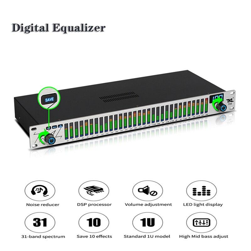 Wishcolor 220 فولت TKL T99 الفضة الأسود لوحة التعادل الرقمي EQ الصوت المعادل عرض الطيف لأداء مرحلة KTV