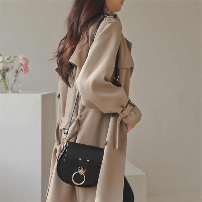 women British style long oversized trench coat elegant Style Ladies Vintage outwear