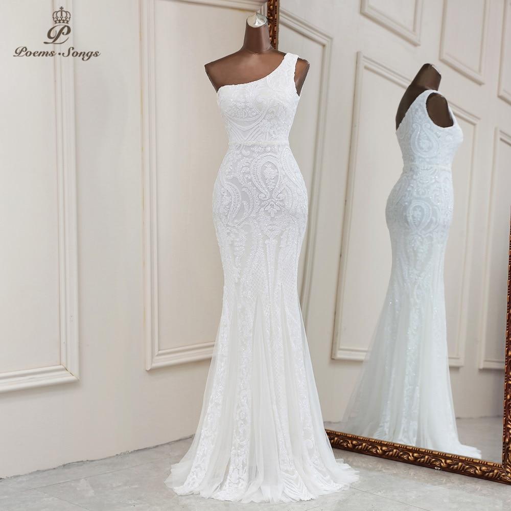 2021 white sequins mermaid evening dresses one shoulder dresses for women party vestidos de fiesta robe de soiree de mariage