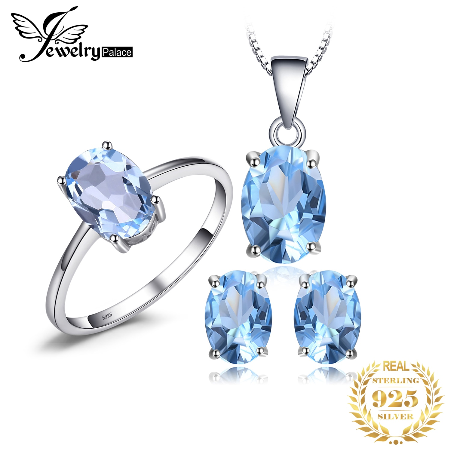 Sky Blue Topaz Chain Pendant Necklace Earrings Ring Set 925 Sterling Silver Gemstones Jewelry Sets Silver 925 Jewelry For Women 925 sterling silver opal stone wedding bridal jewelry sets earrings for women costume jewelry pendant necklace ring set gift box