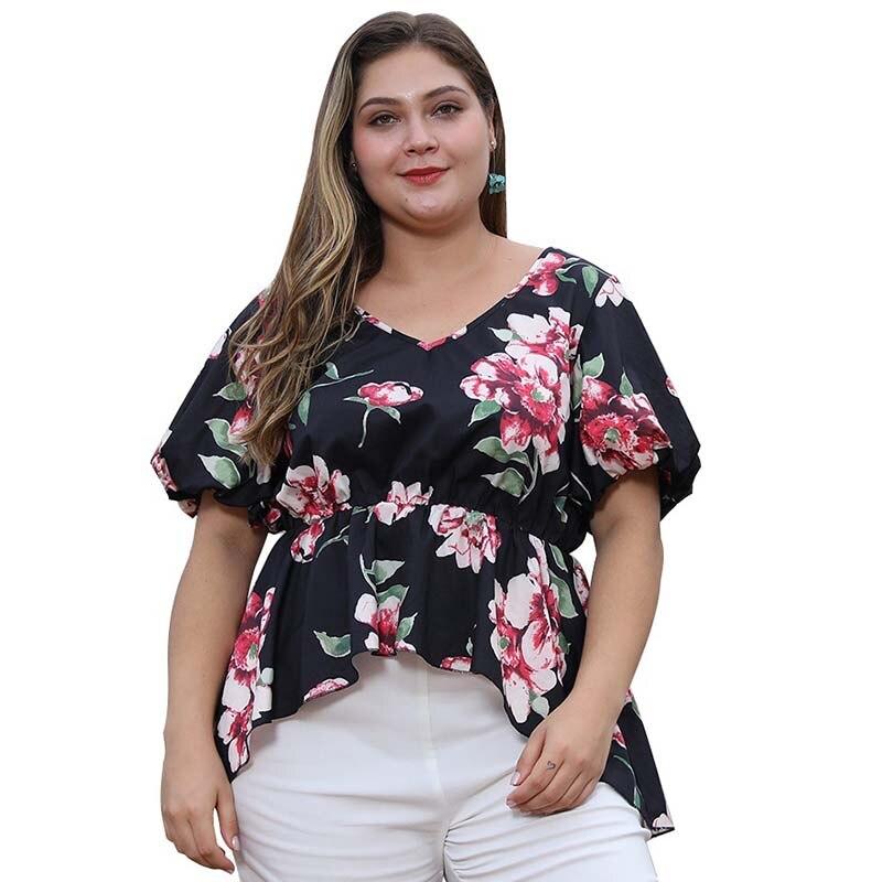 WHZHM flor impresa Camiseta talla grande 3XL 4XL mujeres fiesta Floral tamaño grande camisetas volantes Casual Sexy señoras Puff manga tops de mujer
