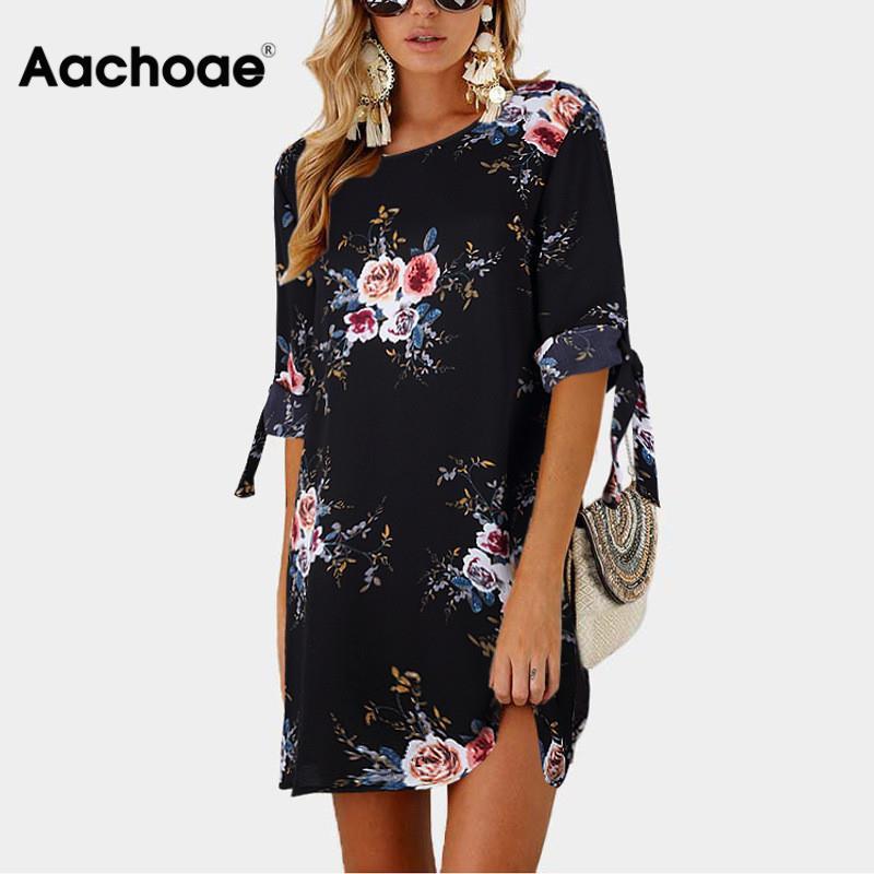 aliexpress - Aachoae Summer Dress 2020 Women Floral Print Beach Chiffon Dress Casual Loose Mini Party Dress Boho Sundress Vestidos Plus Size